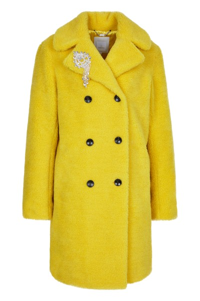 Coat in lambskin look