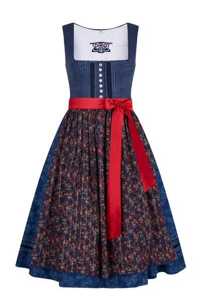 Charming dirndl with cotton hand print and velvet ribbons