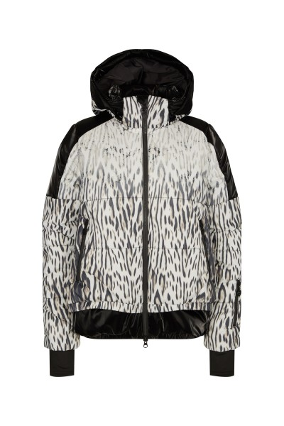 Padded ski jacket made of material mix with zip off hood with fur