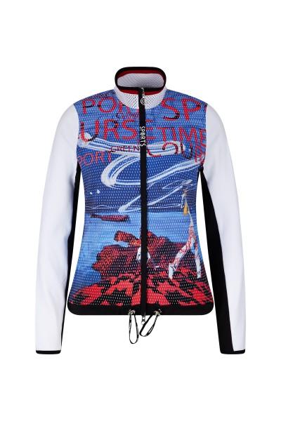 Sportliche Jersey Jacke mit Golfmotiv Print