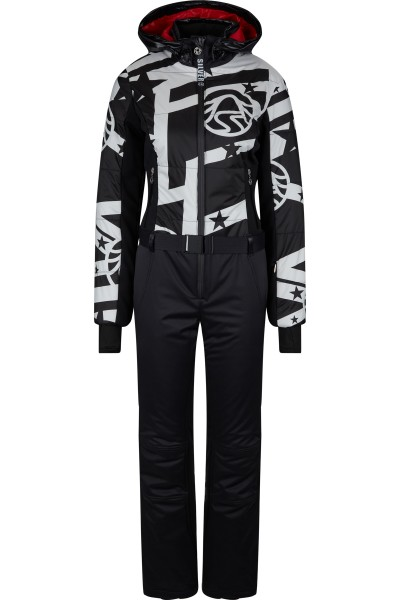 Ski overall made of material mix with zip off hood and belt