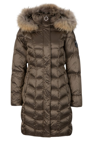 Down coat with fur hood
