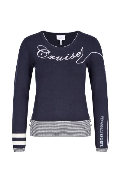 Knitted sweater with lettering