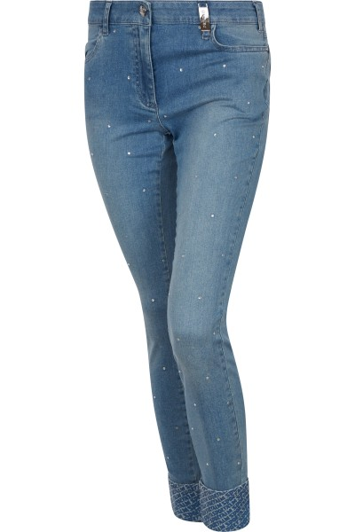 Jeans with all-over hotfix stones