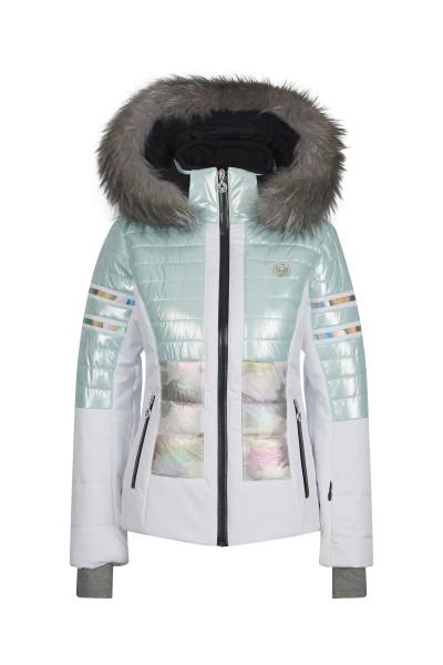 Ski jacket in block stripe design