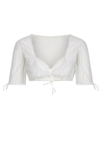 Kurzarm-Bluse mit herzförmigem Ausschnitt