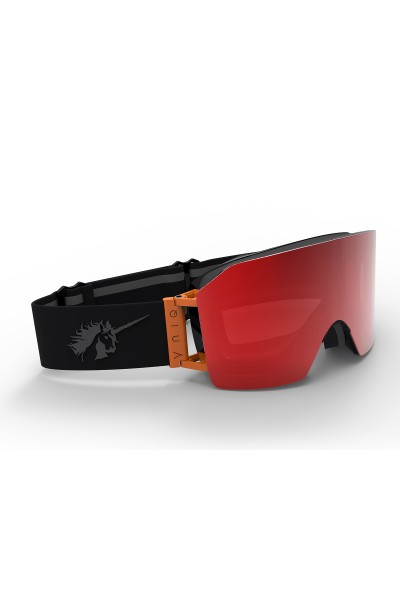Ski goggles in black/orange mirror glass
