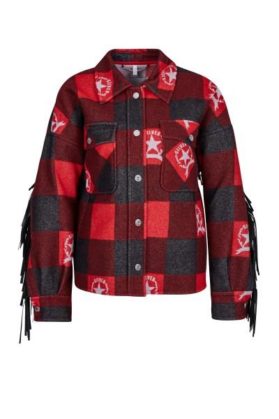 Stylishes Wollmischhemd mit Sportalm Brandings und Lederfransen