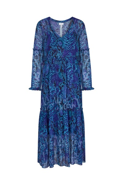 Long chiffon dress with an allover snake print