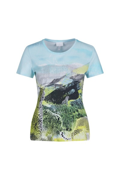 Shirt in all-over landscape print