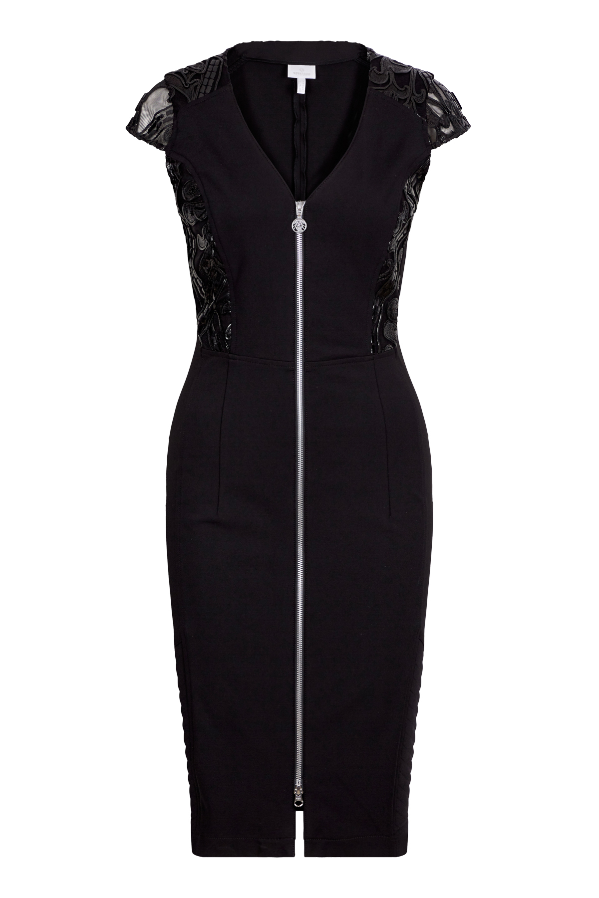 Stretch dress in refined lines