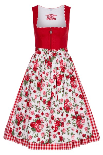 High quality linen dirndl in noble red tones