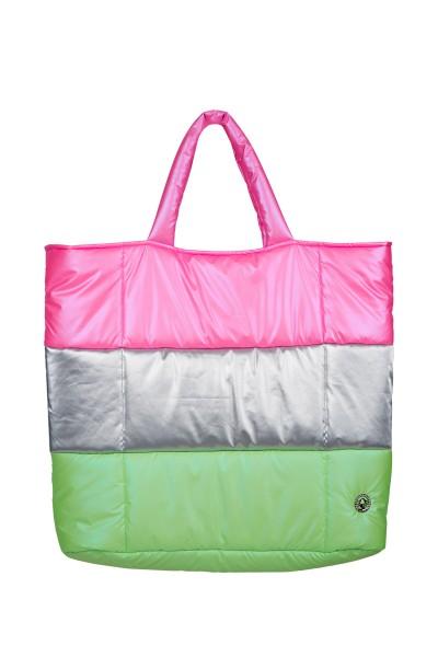 Wattierte Nylontasche im Colourblock-Style