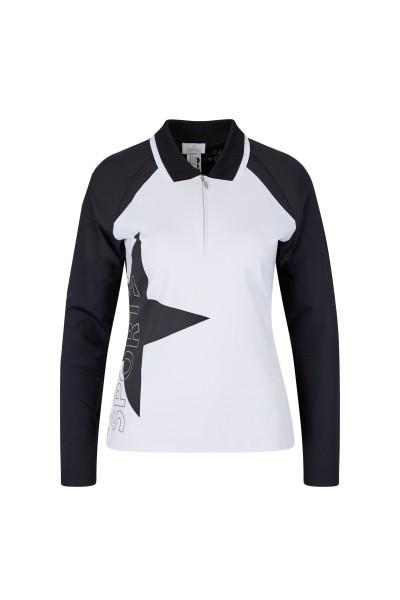 Langarm-Poloshirt mit Metallic-Foliendruck