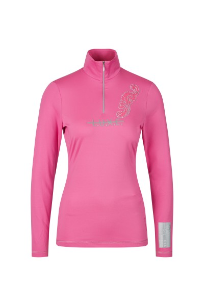 Sporty ski base layer with fashionable transfer and rhinestone motif