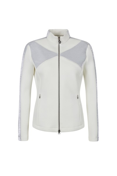 Figure-hugging neoprene jacket with stand-up collar and seam zipped pockets