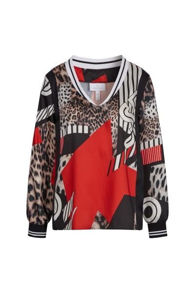 Blouse in all-over leo print