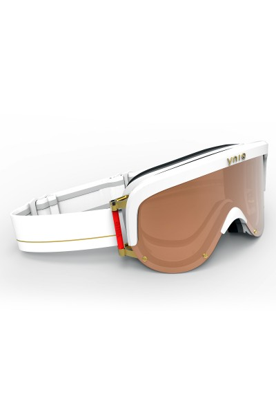 Ski goggles with white-gold-brown lenses