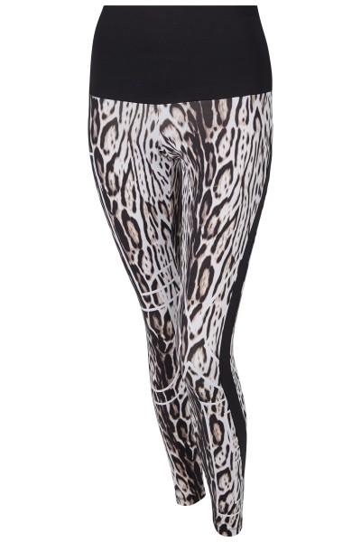 Leggings mit hohem unifarbenen Bund und Kollektionsdruck