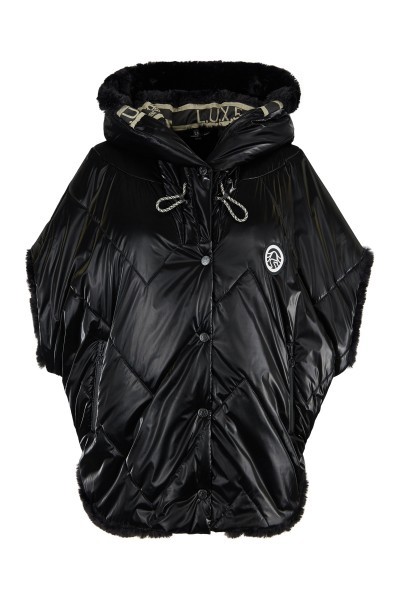 Fashionable padded vest with hood and overcut shoulder
