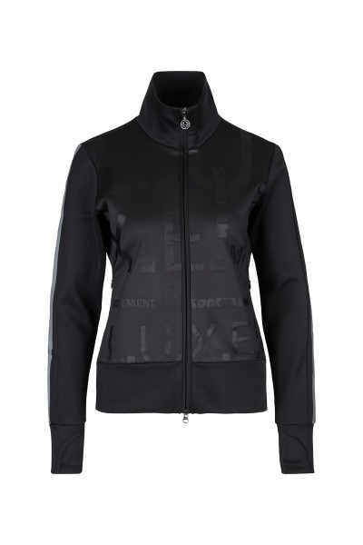 Sweat jacket with metallic print, stand up collar and pockets