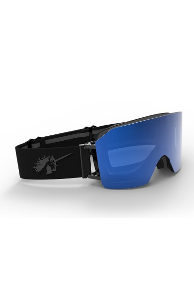 Ski goggles with matt/black, mirror blue lens