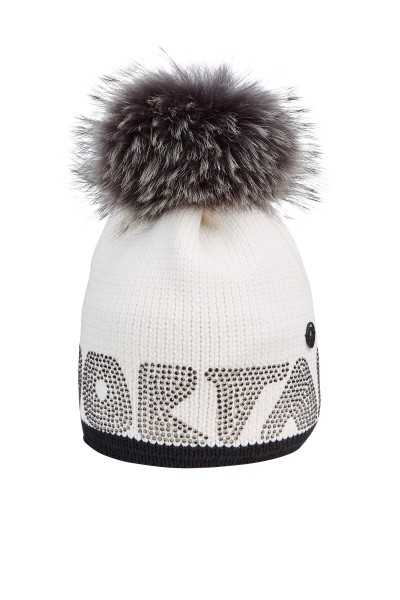 Fashionable winter hat with real fur bobble