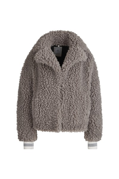 Cozy jacket in lambskin look with lapel collar