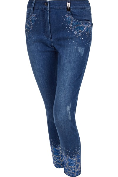 Embroidered jeans with rivets / rhinestone details