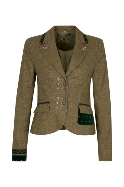Waisted traditional jacket with noble button placket