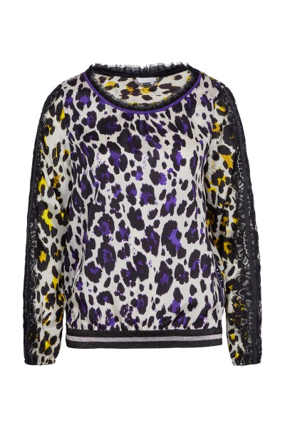 Bluse in Leoprint-Optik