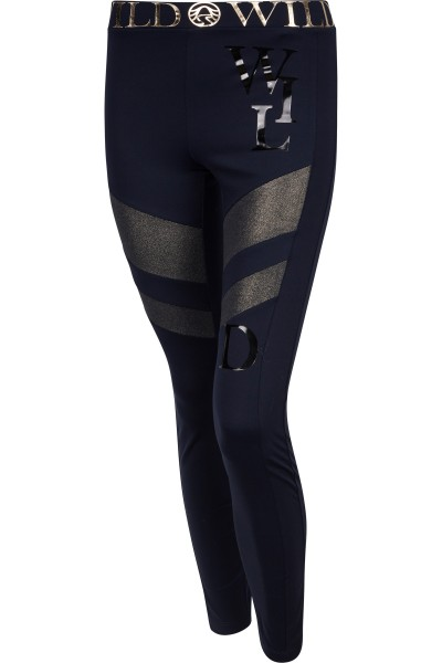 Sporty leggings with lettering on the waistband