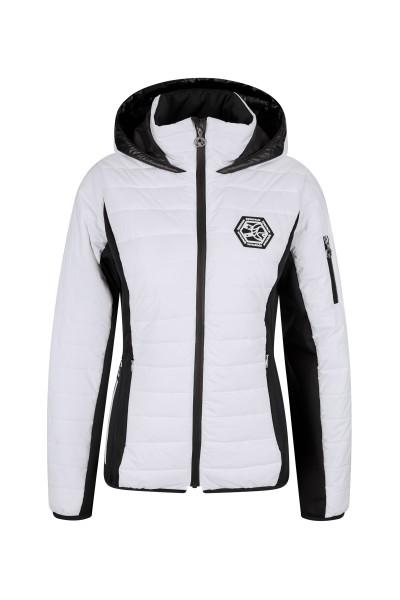 Padded ski jacket with fixed sewn hood