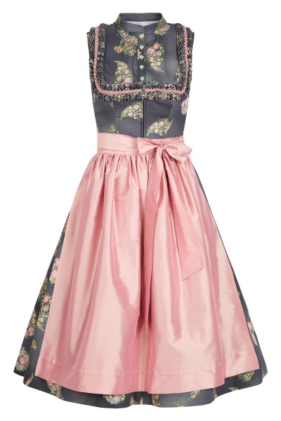 Dirndl with printed cotton satin
