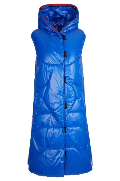 Padded long vest with hood and star quilting