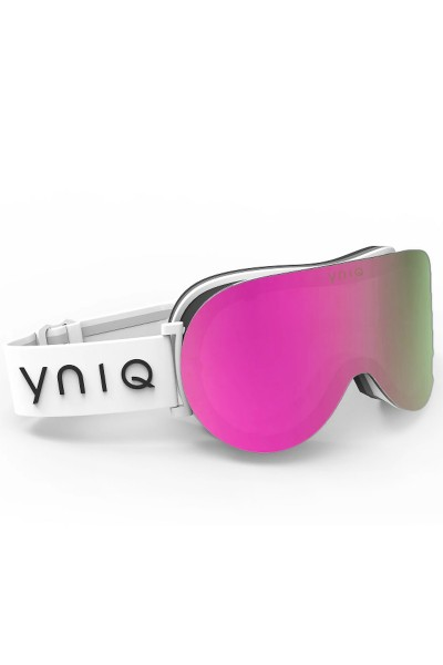 Ski goggles with ,white pink mirror lenses