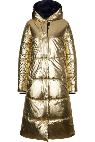Quilted coat in a metallic look