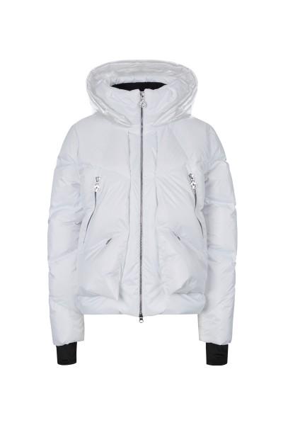 Real down ski jacket with matt-gloss effect and fashionable collar