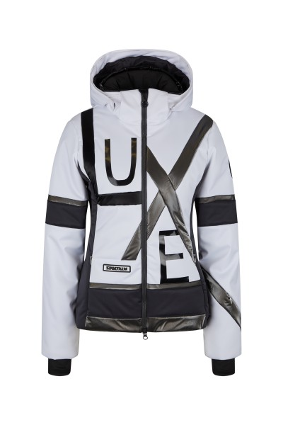 Ski jacket with zip-off hood made of material mix of ski fabric and nylon