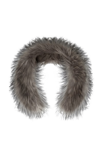 Silver gray synthetic fur trim