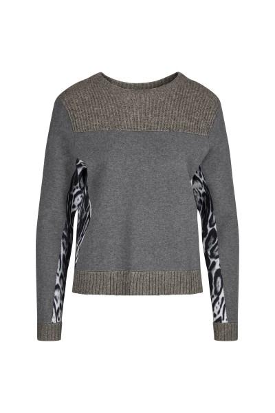 Langarm Pullover mit bedruckten Seiteneinsätzen