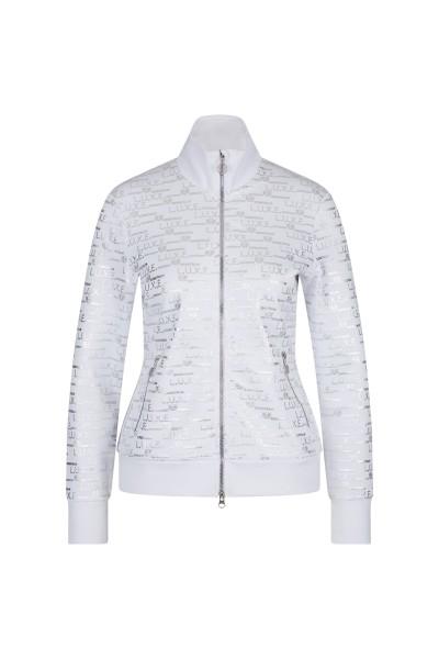 Sweat jacket in shimmering metallic silver