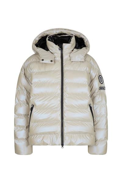 Fashionable nylon real down ski jacket with fixed sewn hood