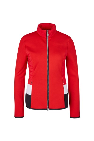 Fleece jacket made of fleece material with elastic nylon and jersey inserts