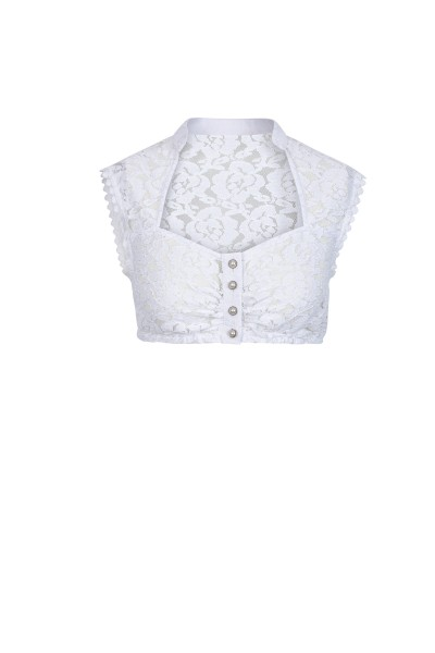 Sleeveless dirndl blouse with noble lace