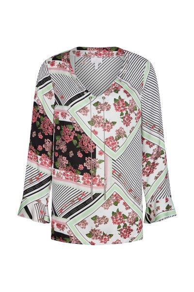 Blouse in an all-over print with valance detail