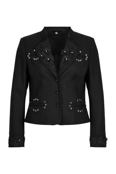 Loden jacket with flower studs