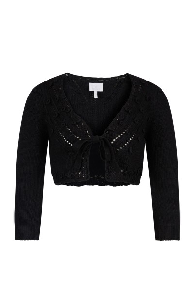 Traditional knitted bolero with three-quarter sleeves