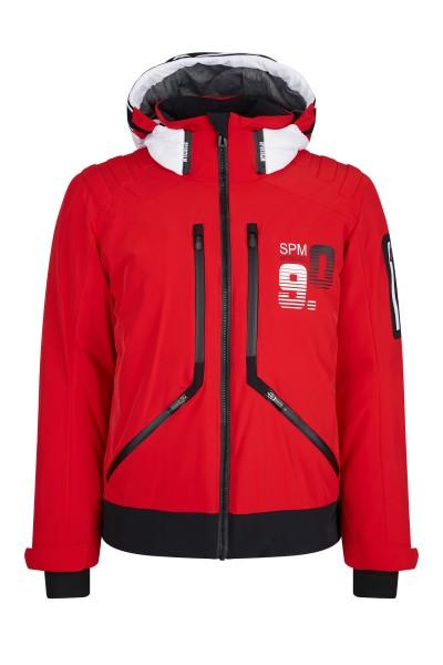Modern ski jacket with hood made of padded nylon
