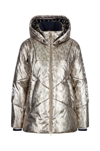 Wattierte Jacke im Metallic Nylon-Allover-Leo-Design